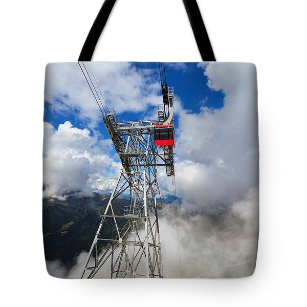 cableway in Italian Dolomites Tote Bag by Antonio Scarpi