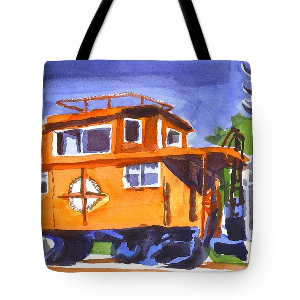 Caboose With Silver Signal Tote Bag by Kip DeVore