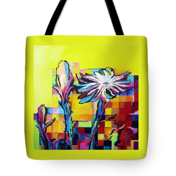 Tote Bag featuring the painting Cactus Blossom by Jodie Marie Anne Richardson Traugott          aka jm-ART