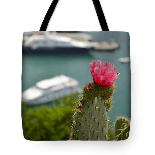 Cactus Flower Above The Port Of Nice Tote Bag by Allen Sheffield