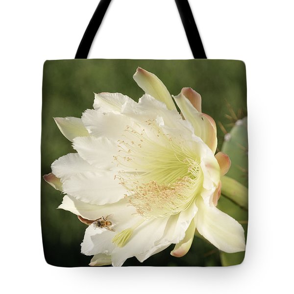 Cactus Flower And Bee Tote Bag