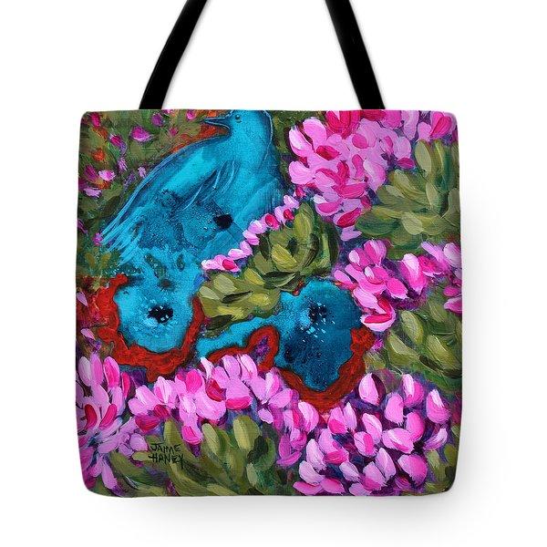 Cactus Flower Blue Bird Dream Tote Bag