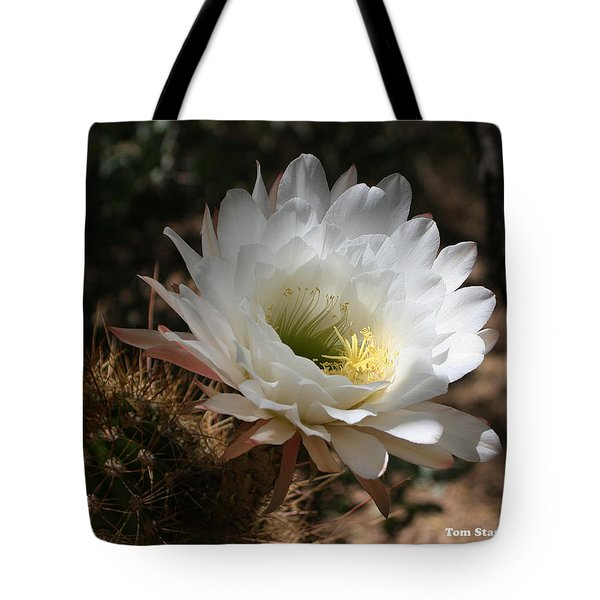 Cactus Flower Full Bloom Tote Bag by Tom Janca