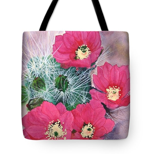 Cactus Flowers I Tote Bag by Mike Robles