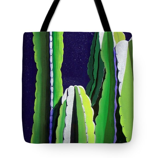 Cactus In The Desert Moonlight Tote Bag by Karyn Robinson