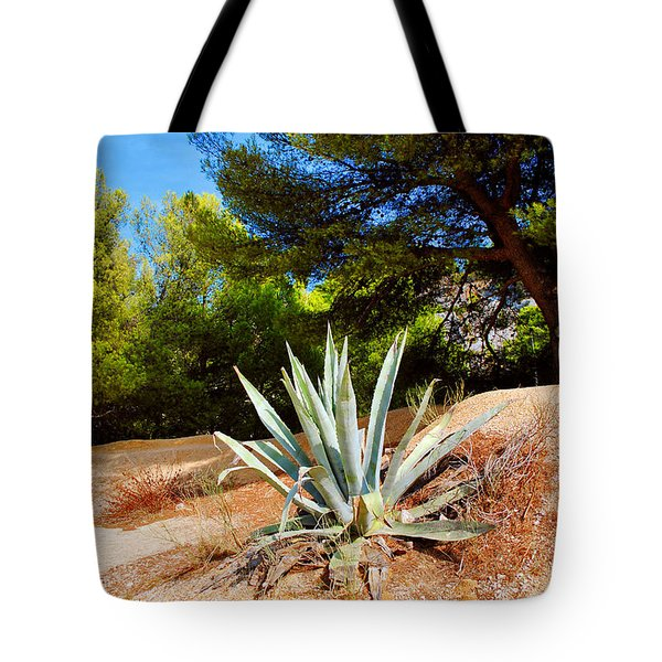 Tote Bag featuring the photograph Cactus On A Rocky Coast Of French Riviera by Maja Sokolowska