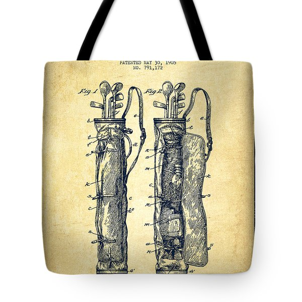 Caddy Bag Patent Drawing From 1905 - Vintage Tote Bag