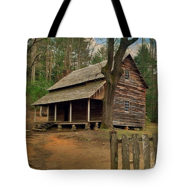 Cades Cove Cabin Tote Bag by Janice Spivey