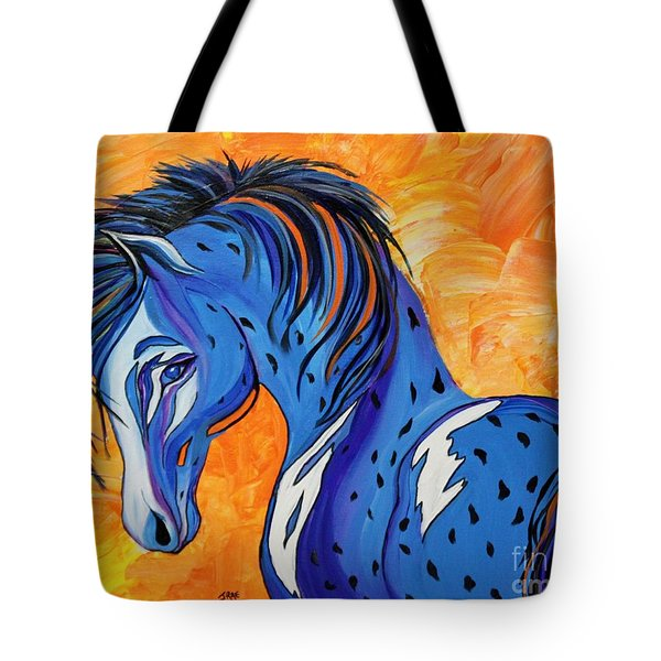 Tote Bag featuring the painting Cadet The Blue Horse by Janice Rae Pariza