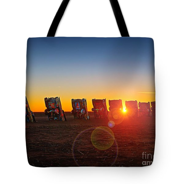 Cadillac Ranch Sunset Tote Bag by Martin Konopacki