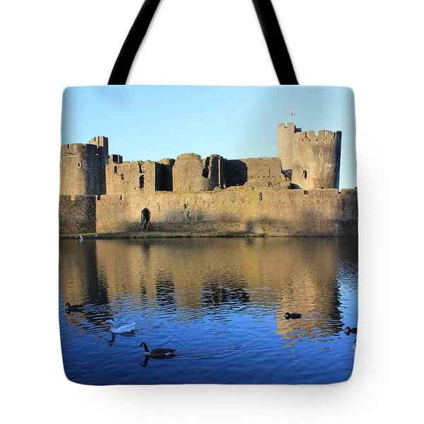 Tote Bag featuring the photograph Caerphilly Castle by Vicki Spindler