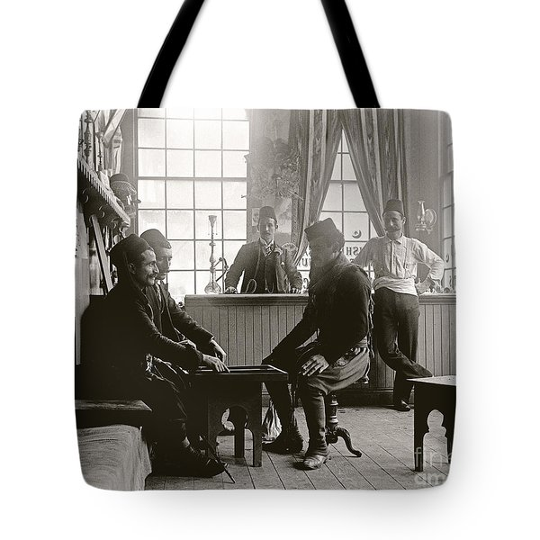 Tote Bag featuring the photograph Cafe Game 1894 by Martin Konopacki Restoration