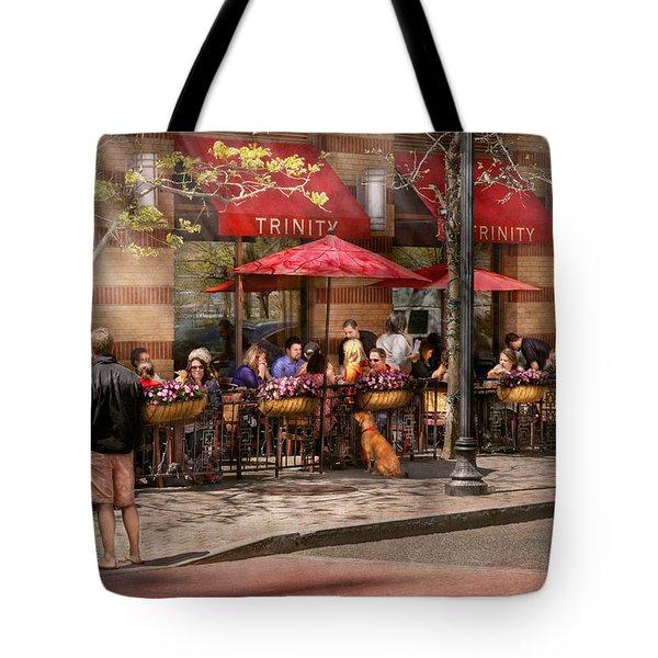Cafe - Hoboken Nj - Cafe Trinity  Tote Bag by Mike Savad