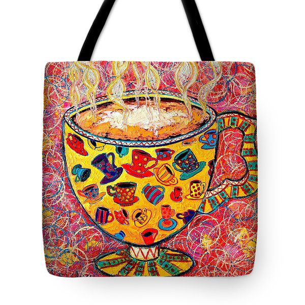 Cafe Latte - Coffee Cup With Colorful Coffee Cups Some Pink And Bubbles  Tote Bag by Ana Maria Edulescu
