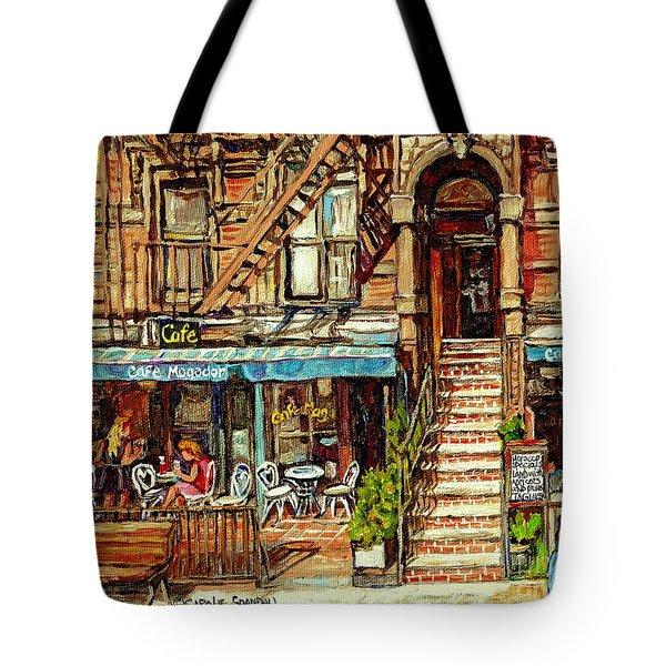 Cafe Mogador Moroccan Mediterranean Cuisine New York Paintings East Village Storefronts Street Scene Tote Bag