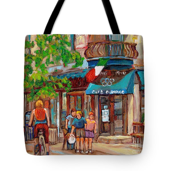 Cafe Olimpico-124 Rue St. Viateur-montreal Paintings-sports Bar-restaurant-montreal City Scenes Tote Bag by Carole Spandau