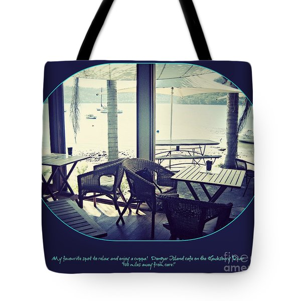 Tote Bag featuring the photograph Cafe On The River by Leanne Seymour