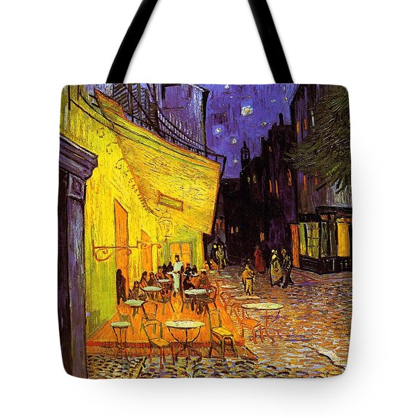 Tote Bag featuring the painting Cafe Terrace At Night by Vincent Van Gogh