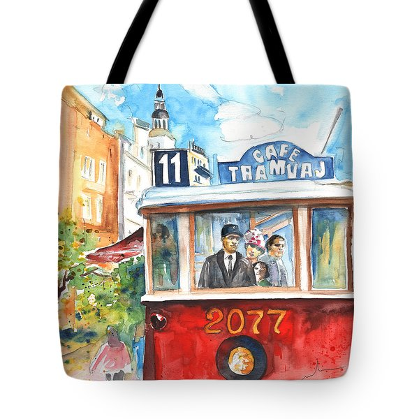 Cafe Tramvaj In Prague Tote Bag by Miki De Goodaboom