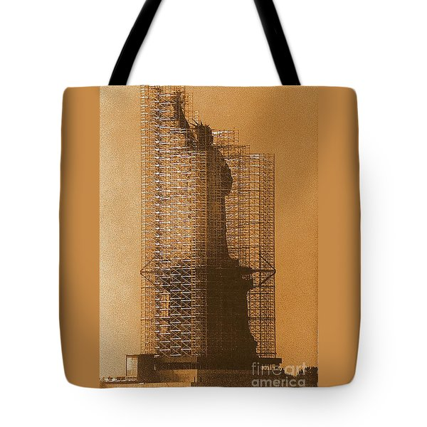 Tote Bag featuring the photograph Lady Liberty Statue Of Liberty Caged Freedom by Michael Hoard