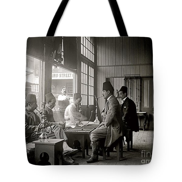 Tote Bag featuring the photograph Cairo St. Cafe 1894 by Martin Konopacki Restoration