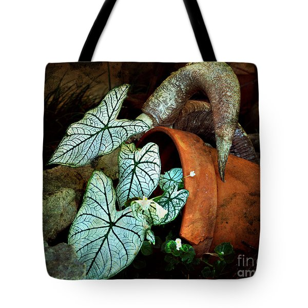 Caladiums In Broken Pot Tote Bag by Linda Cox