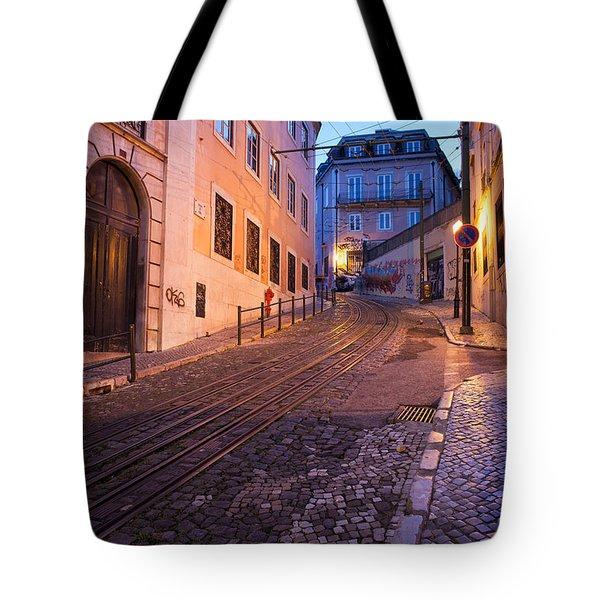 Calcada Da Gloria Street At Dusk In Lisbon Tote Bag