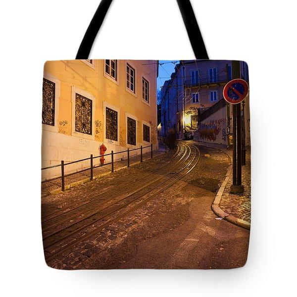 Calcada Da Gloria Street At Night In Lisbon Tote Bag