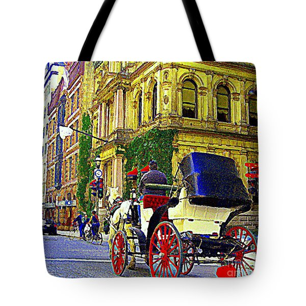 Caleche Ride By The Hotel Le St James Vieux Port Montreal Old World Charm And Elegance C Spandau Art Tote Bag by Carole Spandau