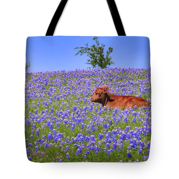 Tote Bag featuring the photograph Calf Nestled In Bluebonnets - Texas Wildflowers Landscape Cow by Jon Holiday