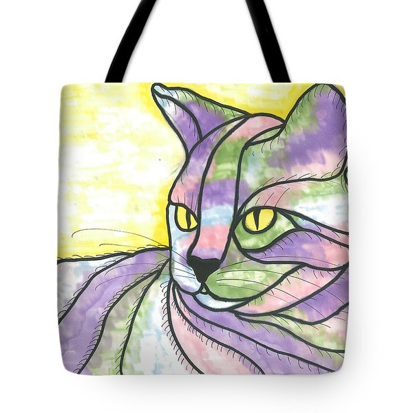 Tote Bag featuring the painting Calico Cat by Susie Weber
