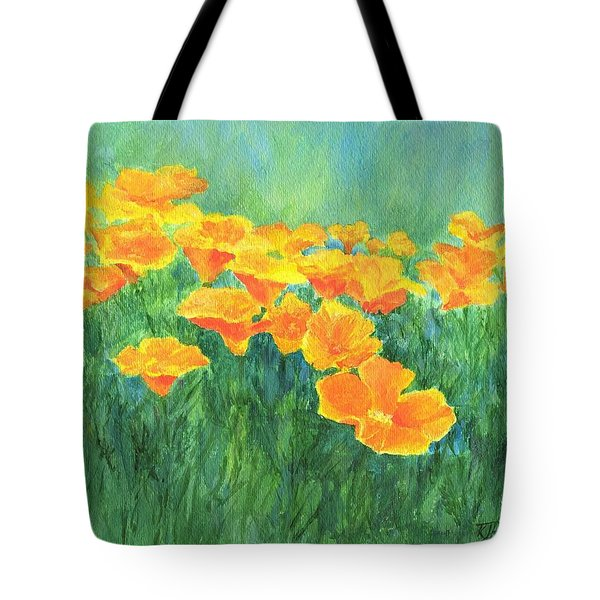 California Golden Poppies Field Bright Colorful Landscape Painting Flowers Floral K. Joann Russell Tote Bag