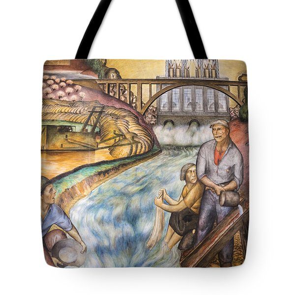 California Industrial Scenes Mural In Coit Tower Tote Bag by Adam Romanowicz