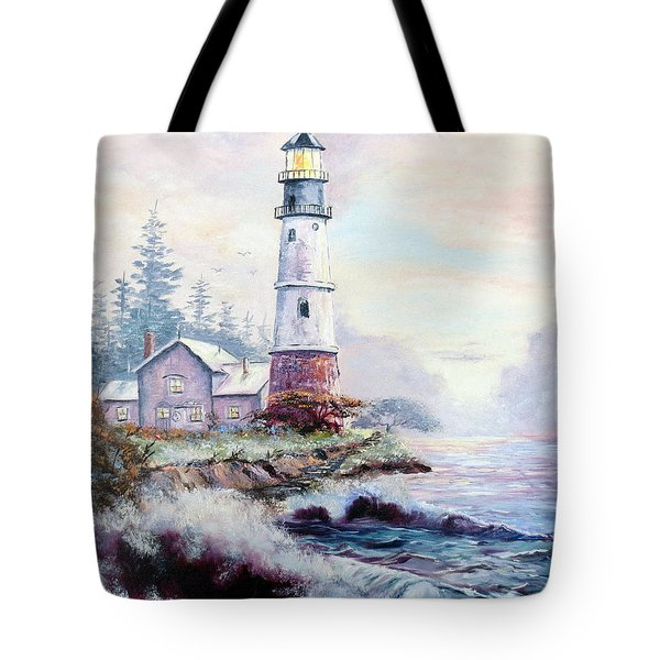 California Lighthouse Tote Bag by Lee Piper