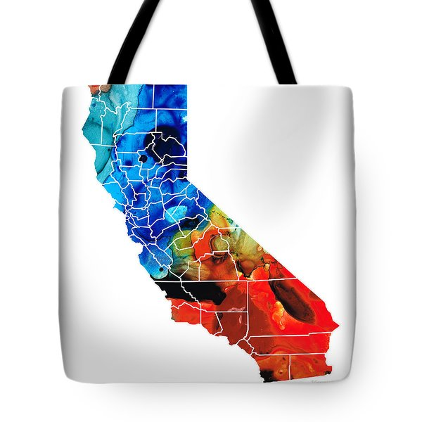 California - Map Counties By Sharon Cummings Tote Bag by Sharon Cummings