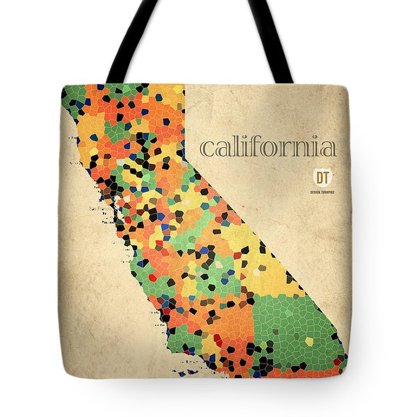 California Map Crystalized Counties On Worn Canvas By Design Turnpike Tote Bag by Design Turnpike