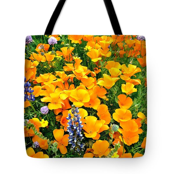 Tote Bag featuring the photograph California Poppies And Betham Lupines Southern California by Dave Welling