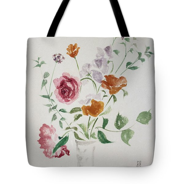 California Poppies And Roses In A Vase Tote Bag by Asha Carolyn Young