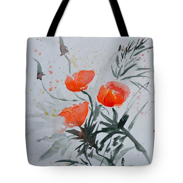 California Poppies Sumi-e Tote Bag