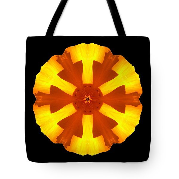 California Poppy Flower Mandala Tote Bag
