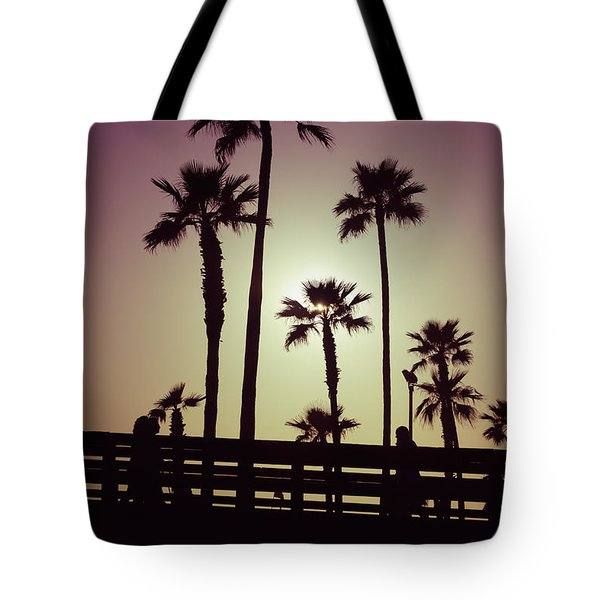 California Sunset Picture With Palm Trees Tote Bag by Paul Velgos