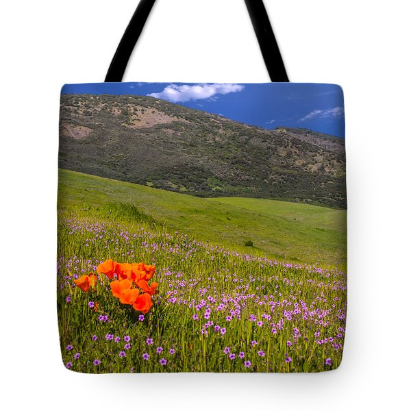 California Wildflowers Tote Bag by Marc Crumpler