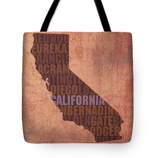 California Word Art State Map On Canvas Tote Bag by Design Turnpike