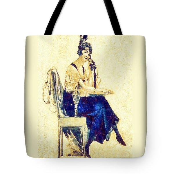 Tote Bag featuring the digital art Call Me by Charmaine Zoe