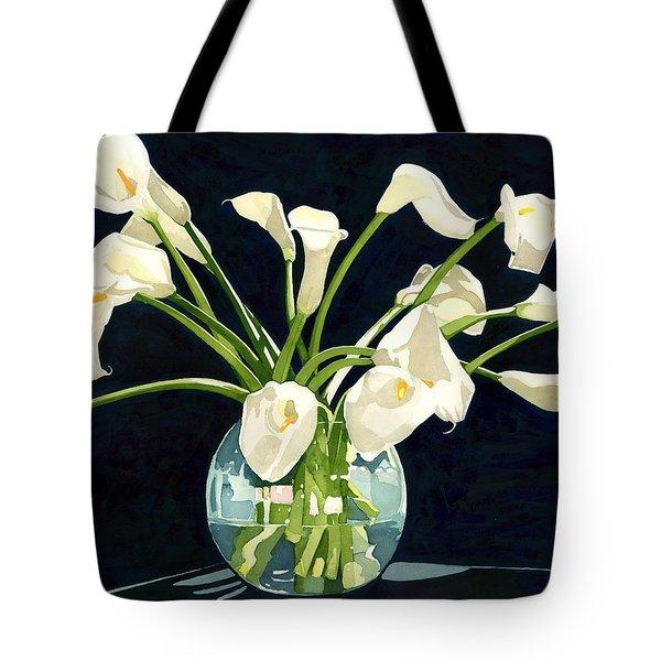 Calla Lilies In Vase Tote Bag