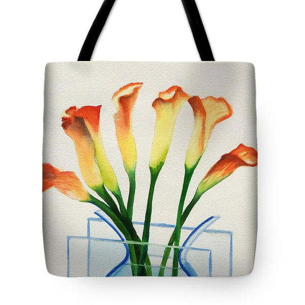 Tote Bag featuring the painting Calla Lilies by Kathy Braud