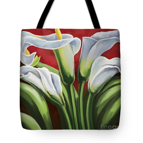 Tote Bag featuring the painting Calla Lilies  by Tim Gilliland