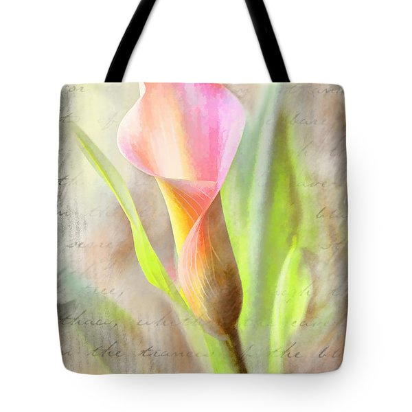 Calla Lily In Pink Tote Bag by Bonnie Willis