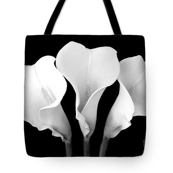 Calla Lily Trio In Black And White Tote Bag