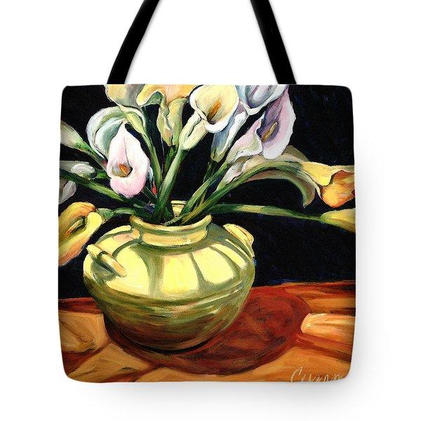 Callas - Floral Art By Betty Cummings Tote Bag by Sharon Cummings